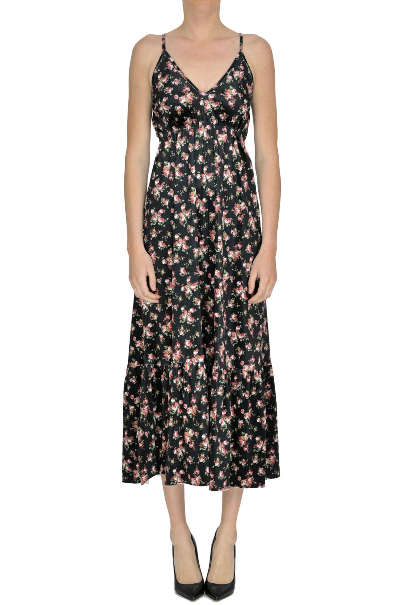 GAELLE PARIS Flower Print Velvet Dress in Multicoloured