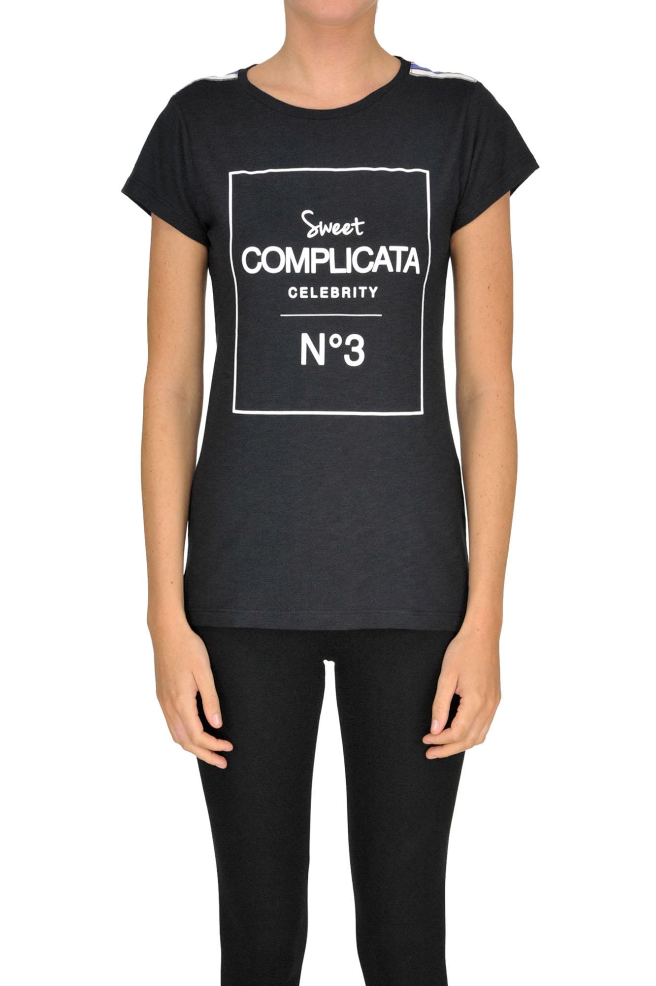 SWEET MATILDA Printed Cotton T-Shirt in Black