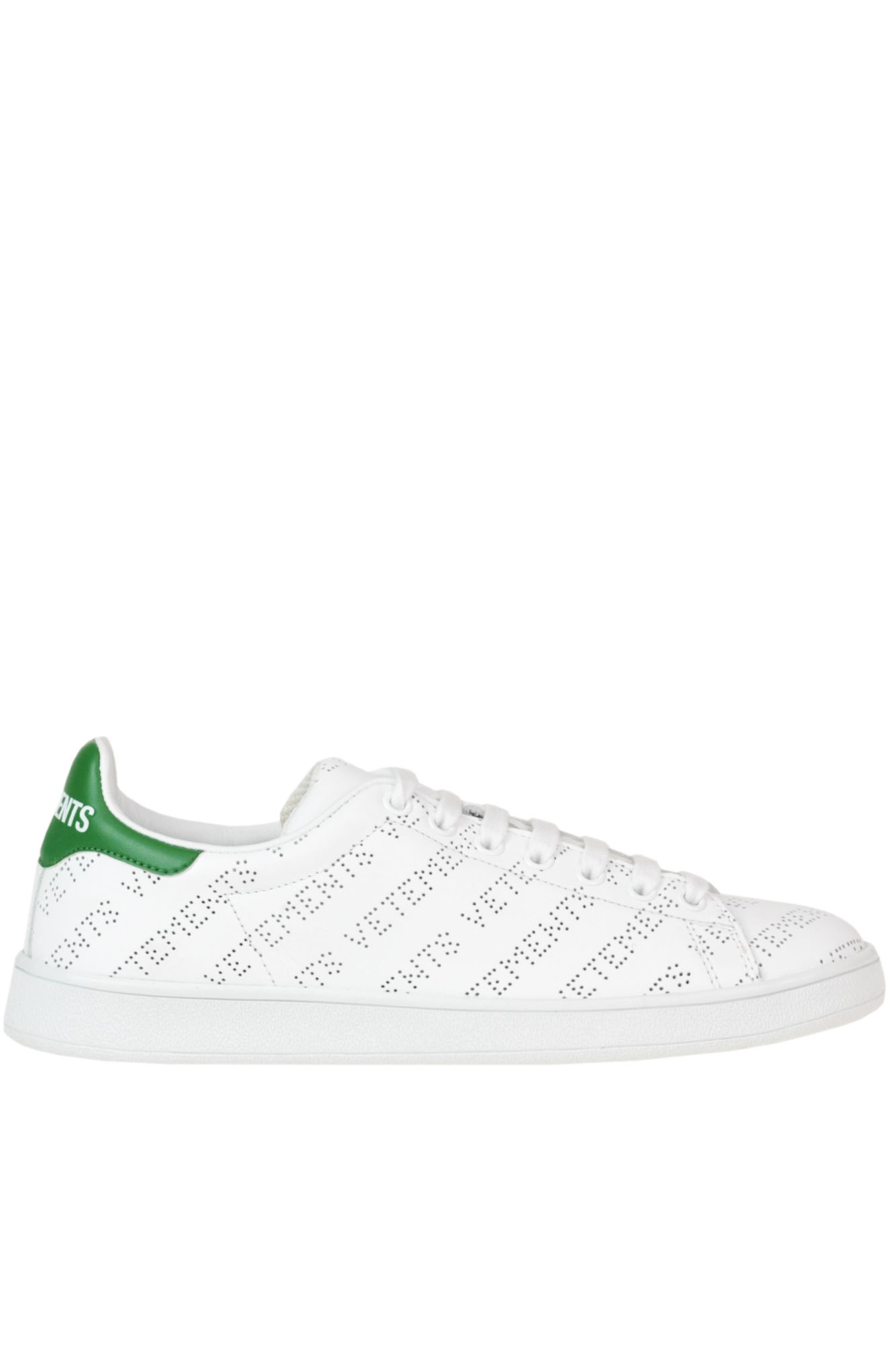 Perforated Designer Logo Leather Sneakers in White