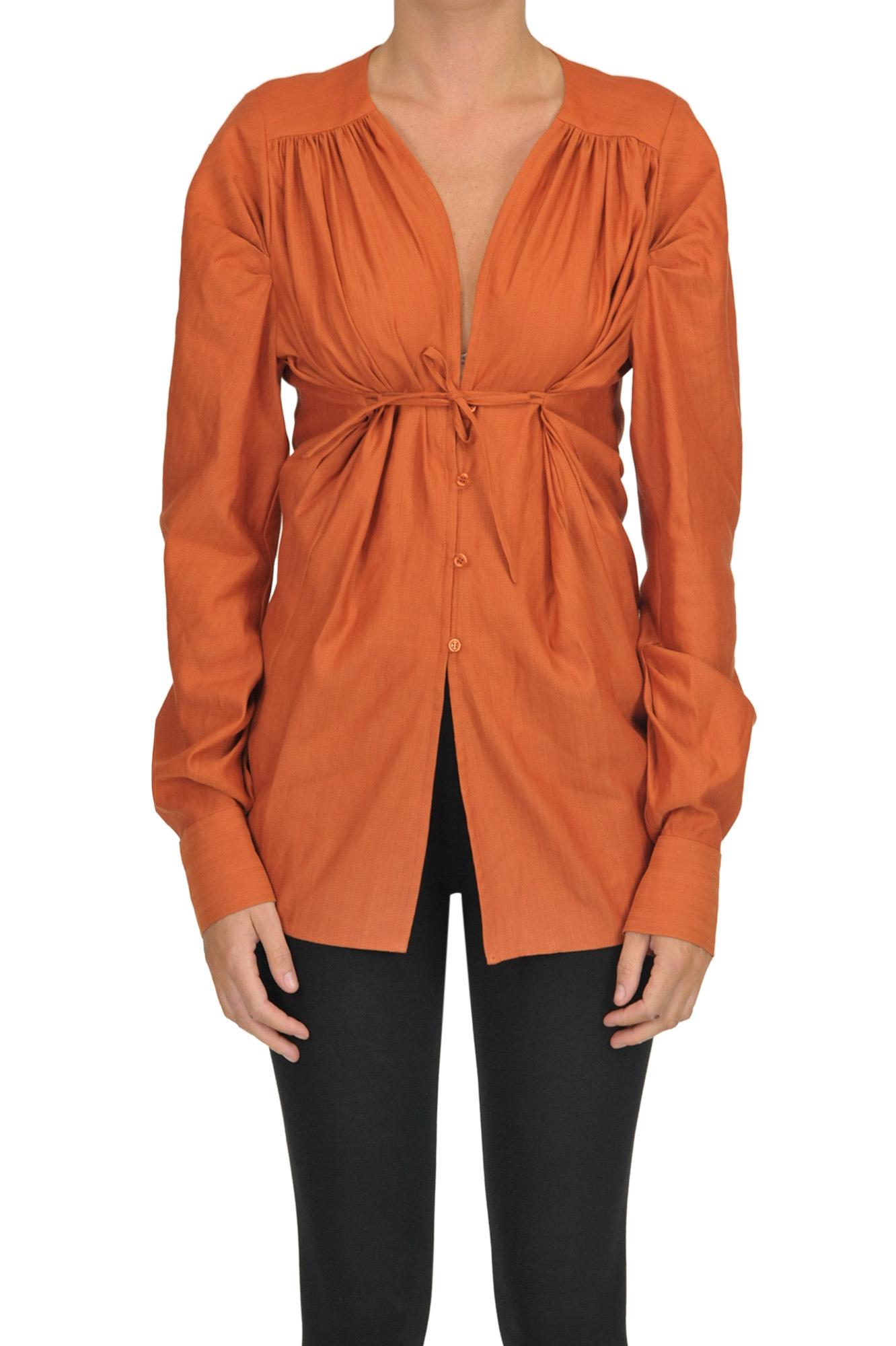 Jacquemus Linen-Blend Shirt In Orange