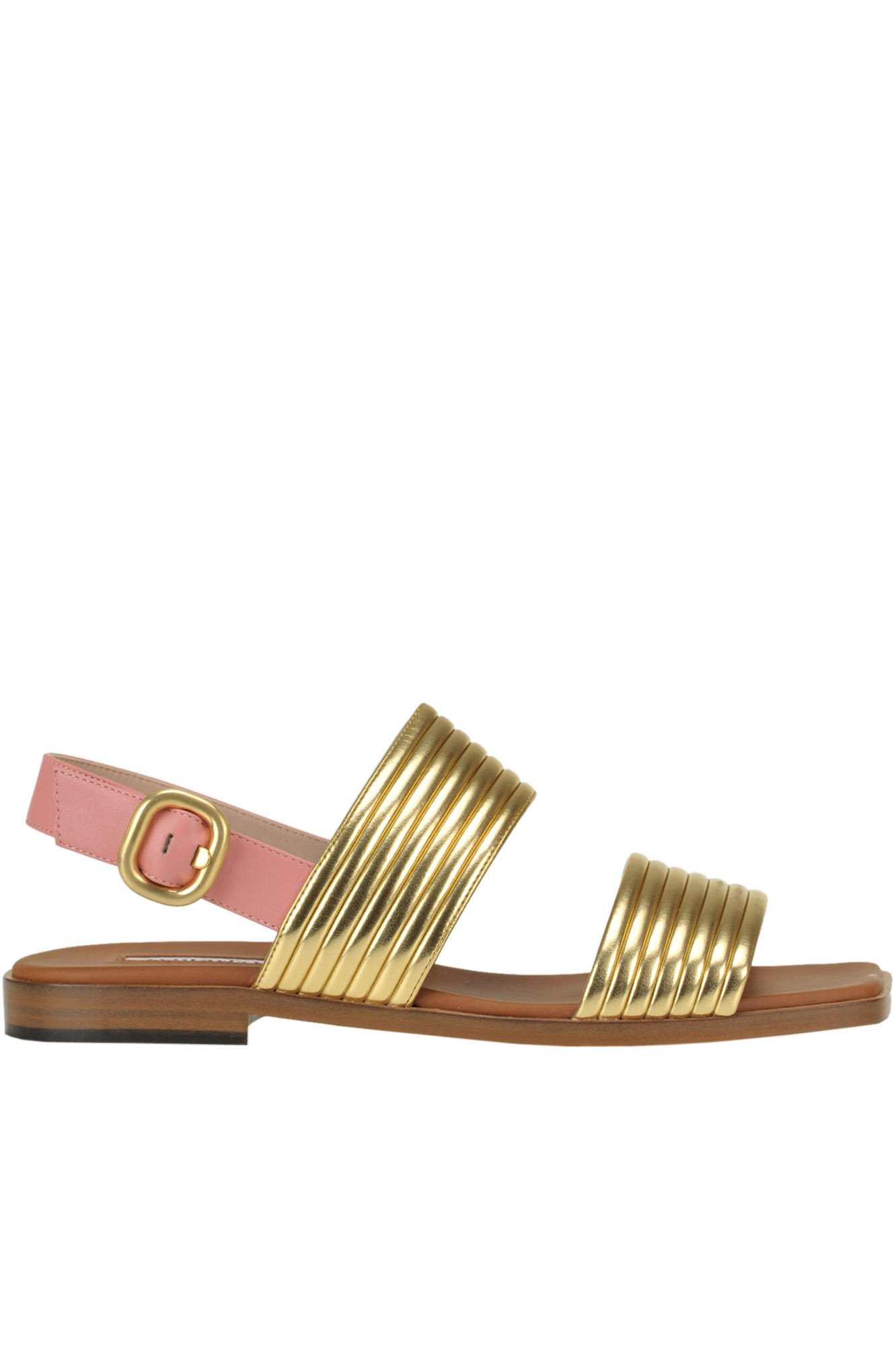 Alberto Gozzi METALLIC EFFECT LEATHER SANDALS