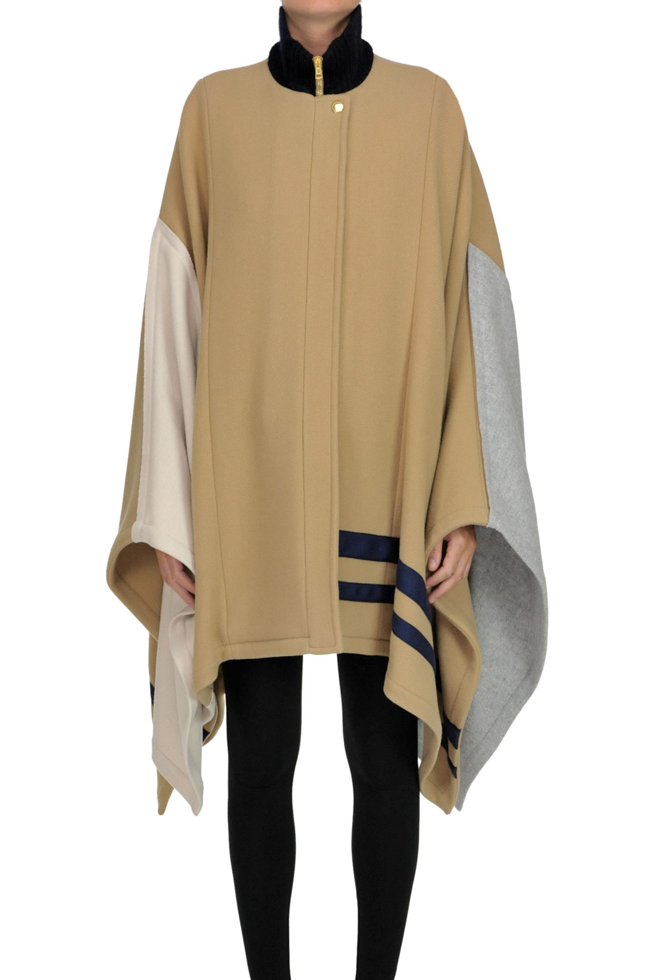 ChloÉ Color Block Cape Coat In Camel