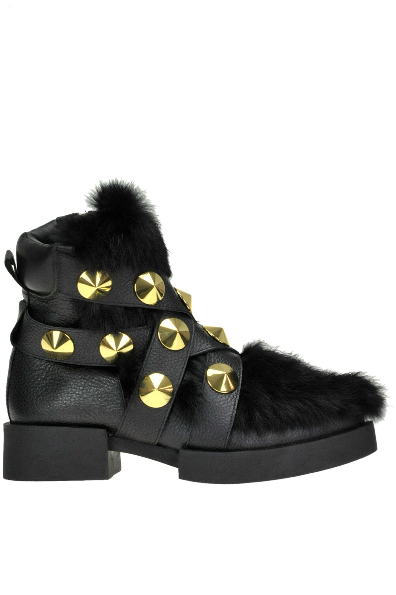 KAT MACONIE Lexi Leather And Eco-Fur Ankle-Boots in Black