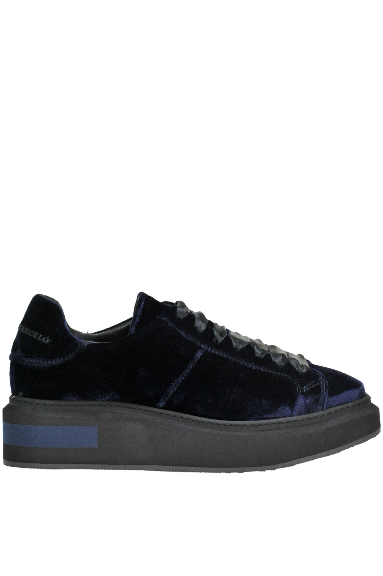 Trafalgar Square Velvet Sneakers in Navy Blue