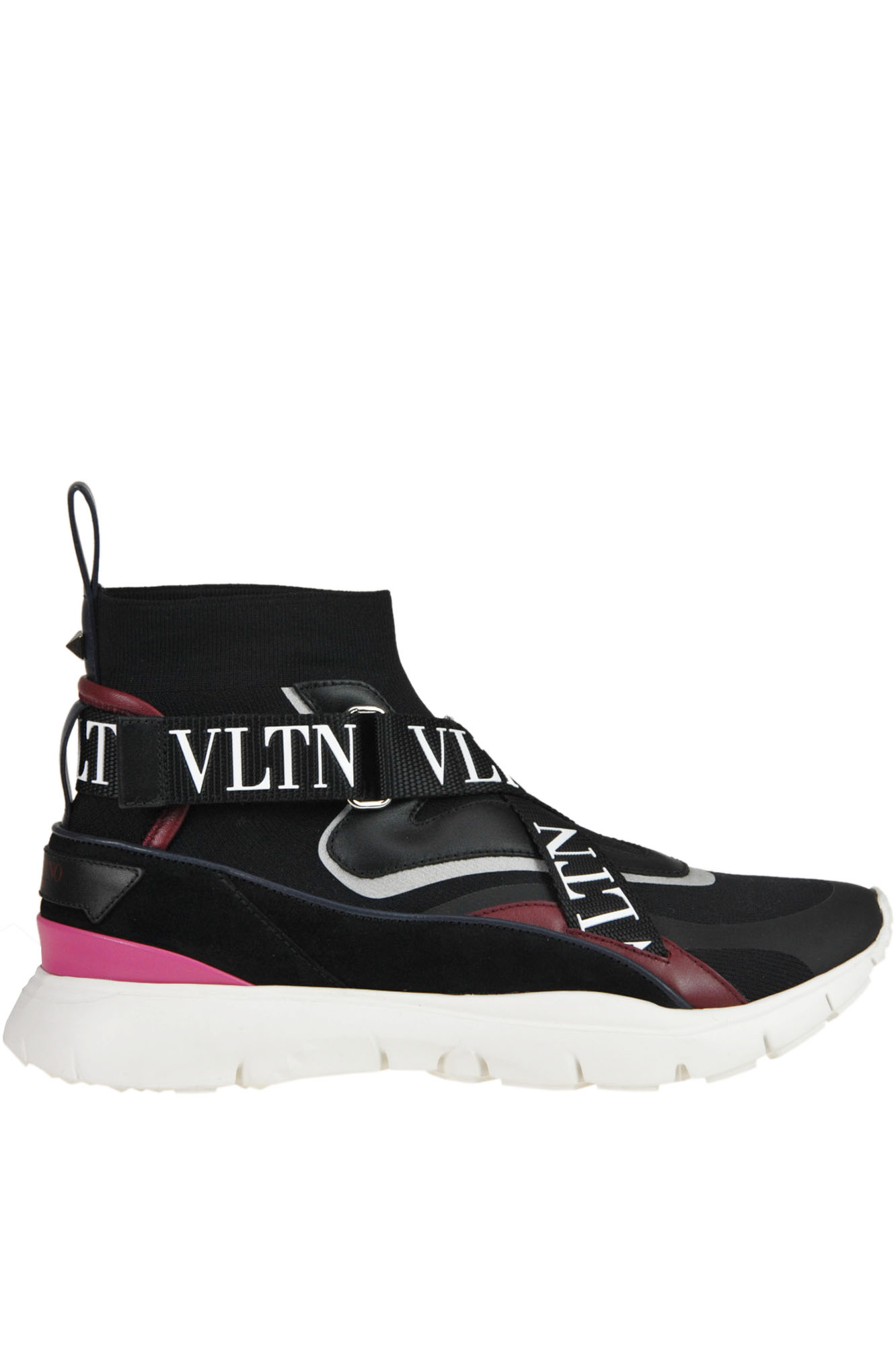 Valentino Black And Pink Strap-Detail Sock Trainer Sneakers