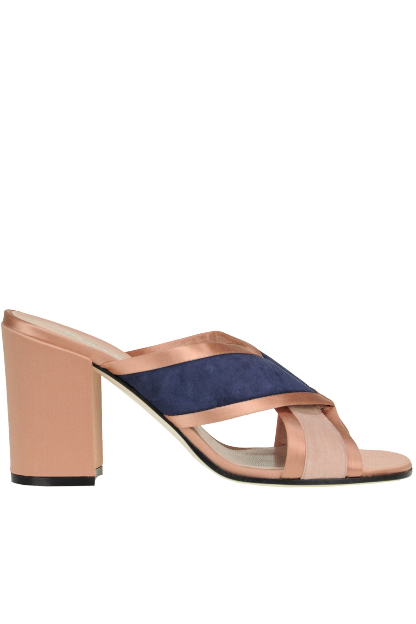 Pollini Satin And Suede Sandals In Neutral