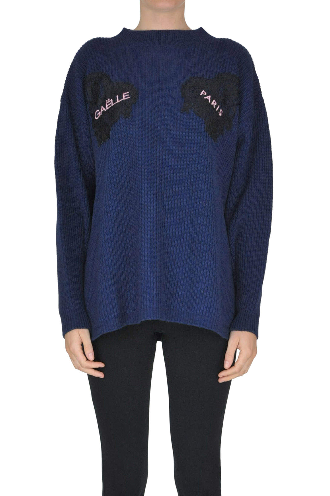 GAELLE PARIS Ribbed Knit Pullover in Navy Blue
