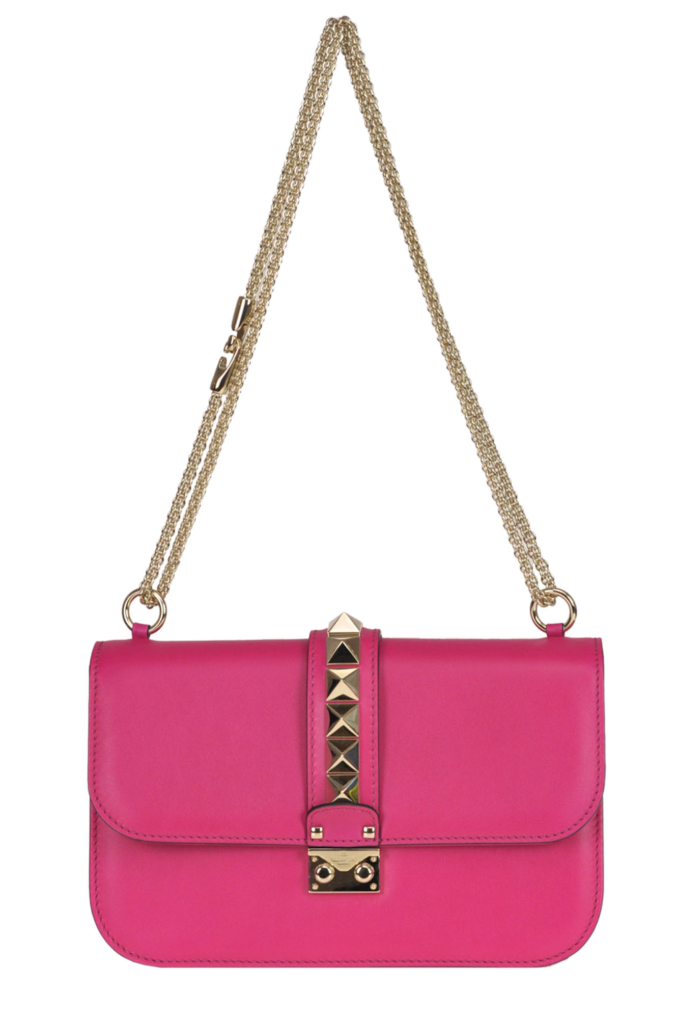 Valentino Studded Leather Shoulder Bag In Fuxia