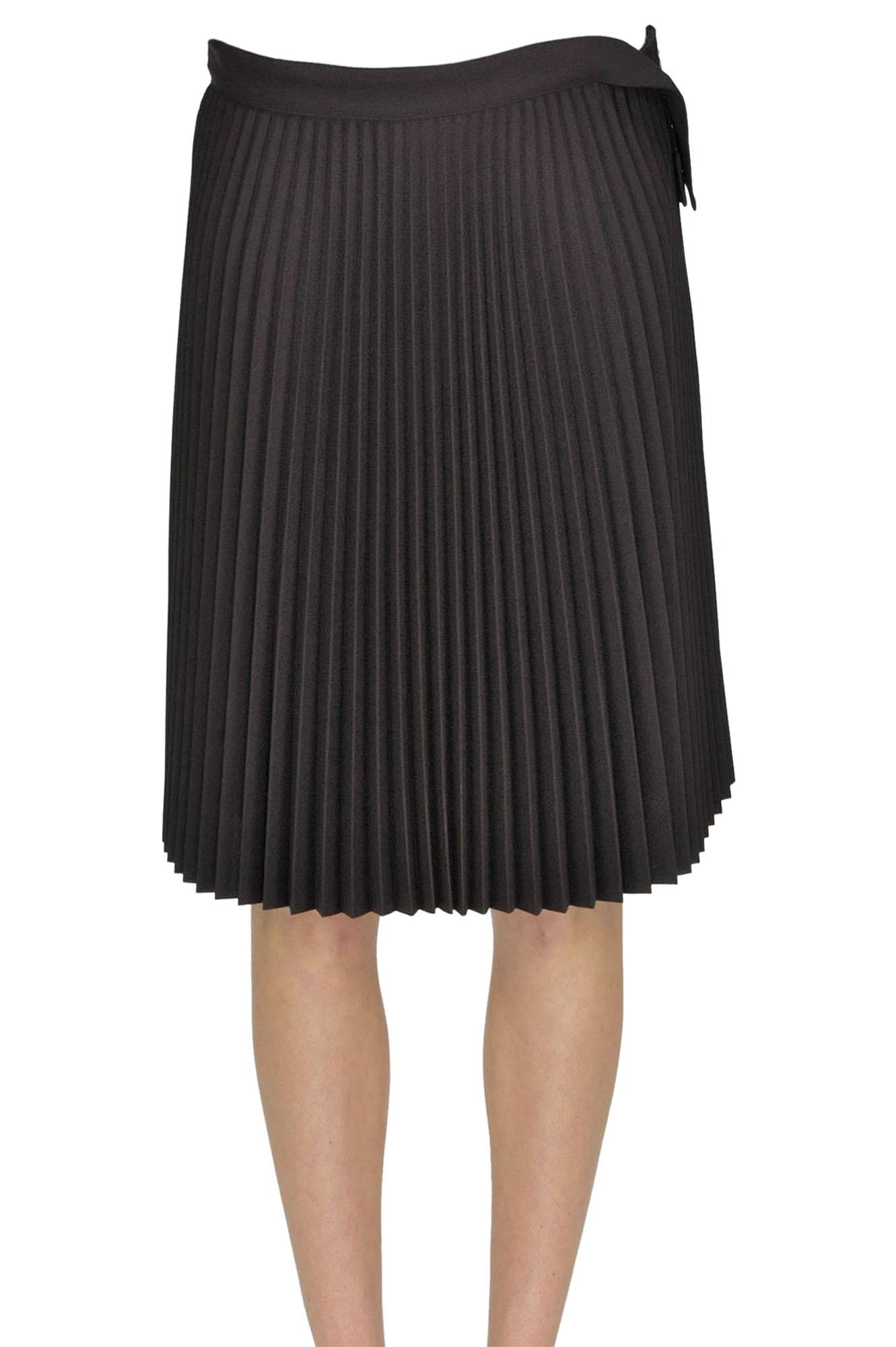 5ca56644eb8d Balenciaga Pleated Skirt In Dark Brown