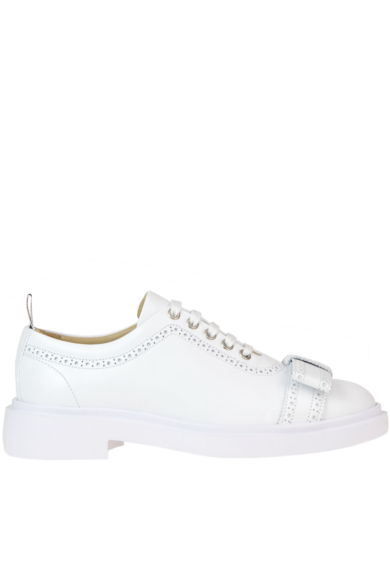 Thom Browne 'Brogued Trainer' Leather Shoes In White