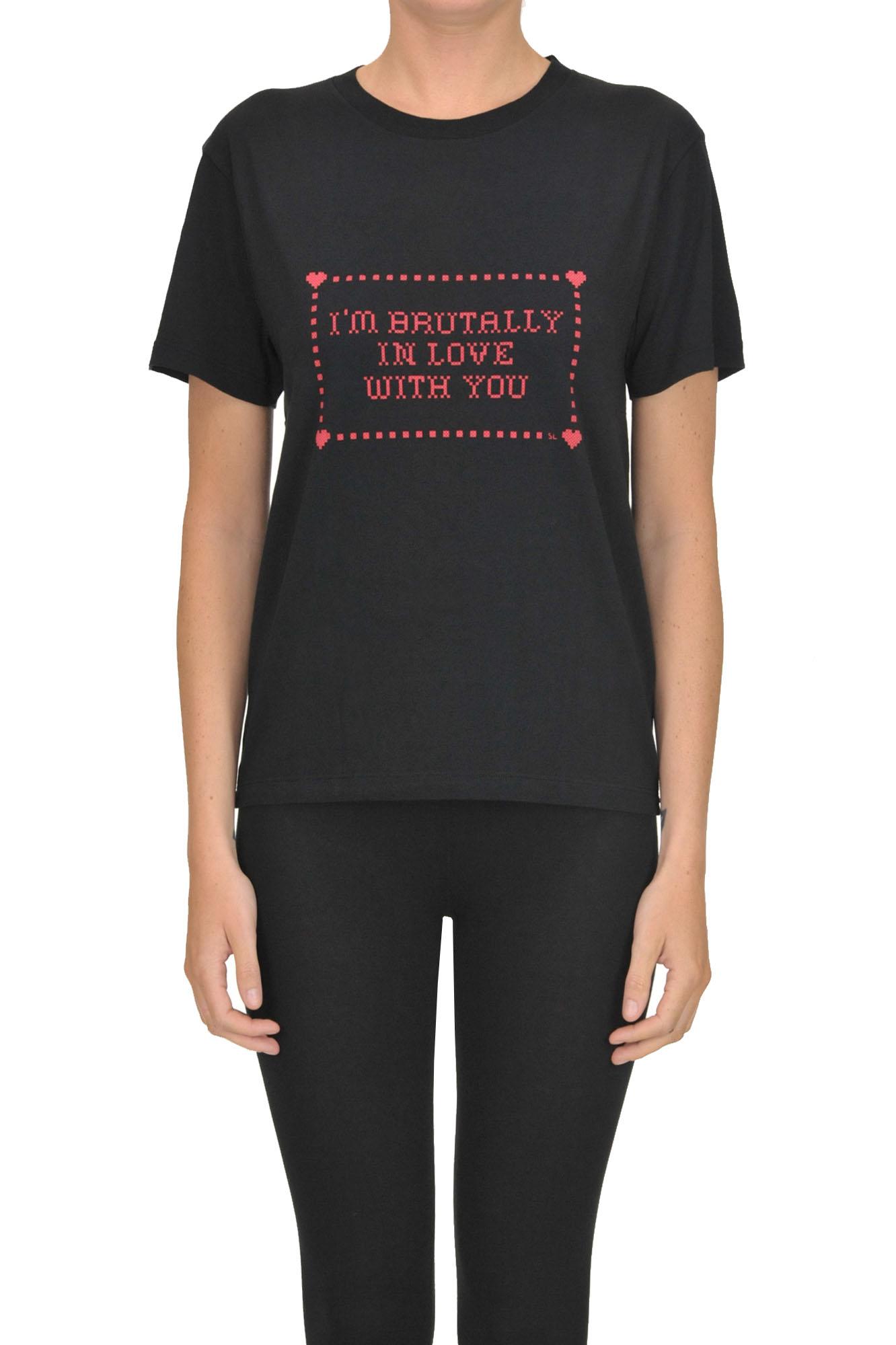 Saint Laurent Printed Cotton T-Shirt In Black