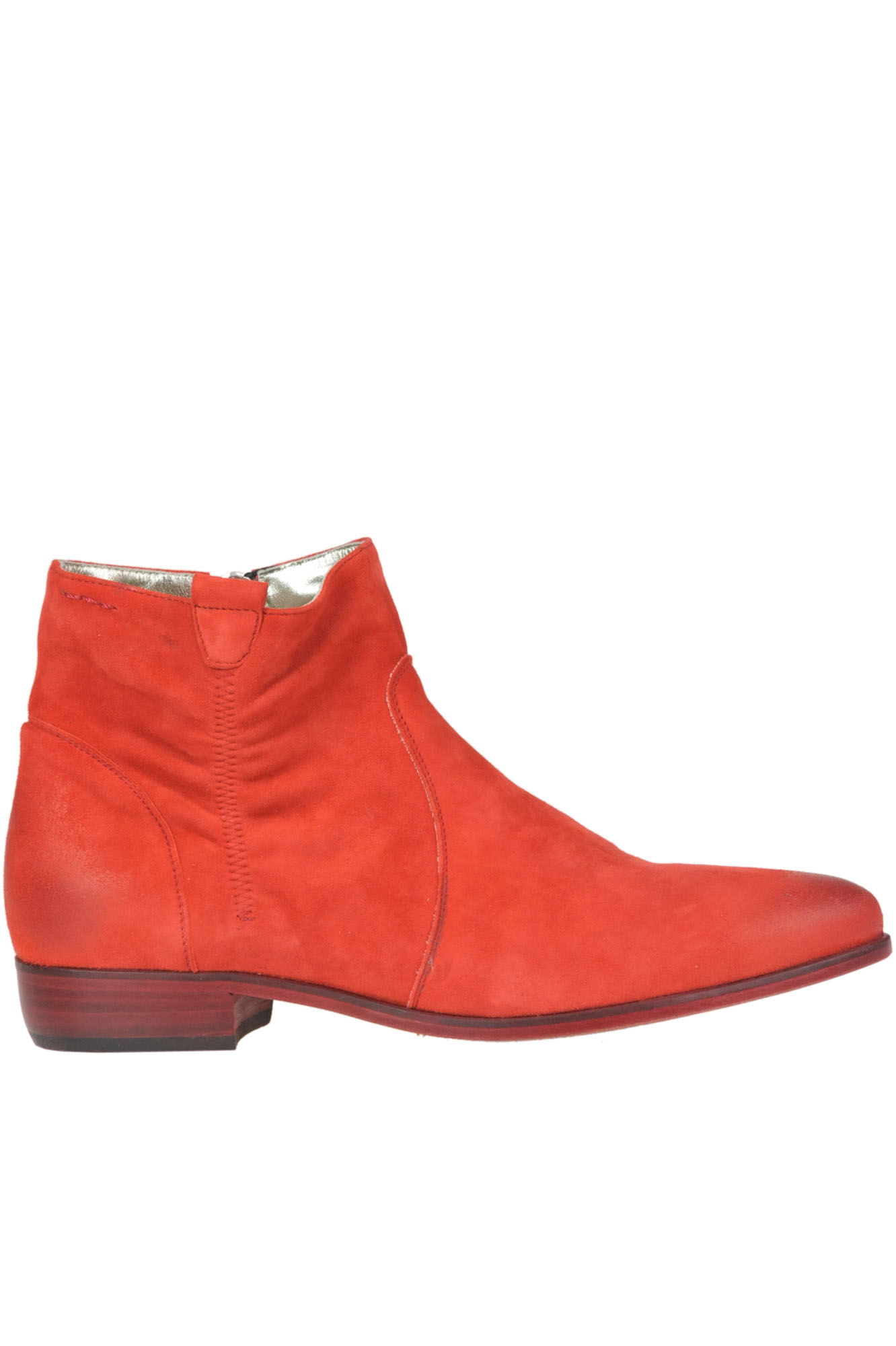 ALEXANDER HOTTO Suede Ankle-Boots in Red