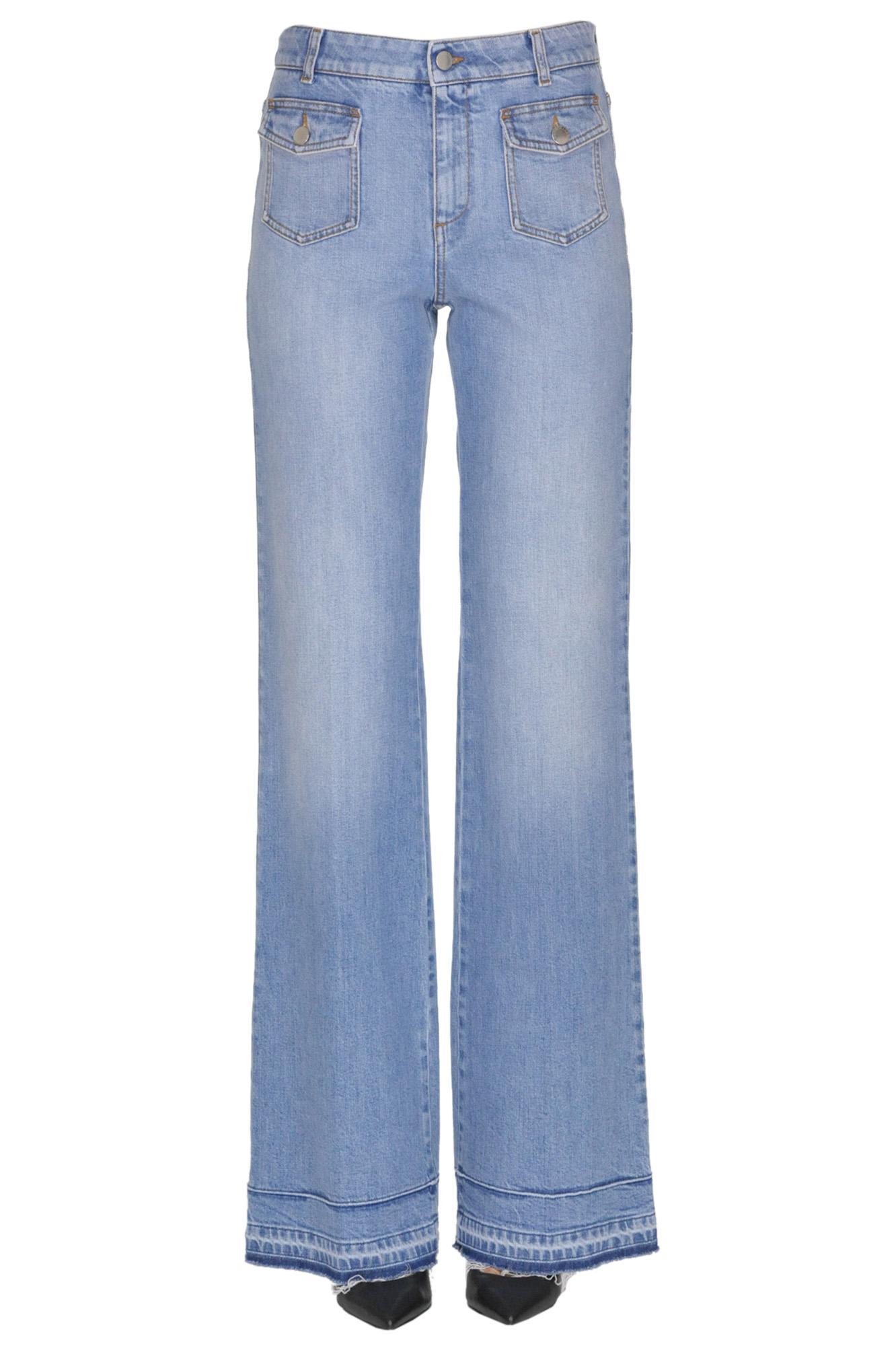 Stella Mccartney Wide Leg Jeans In Light Denim