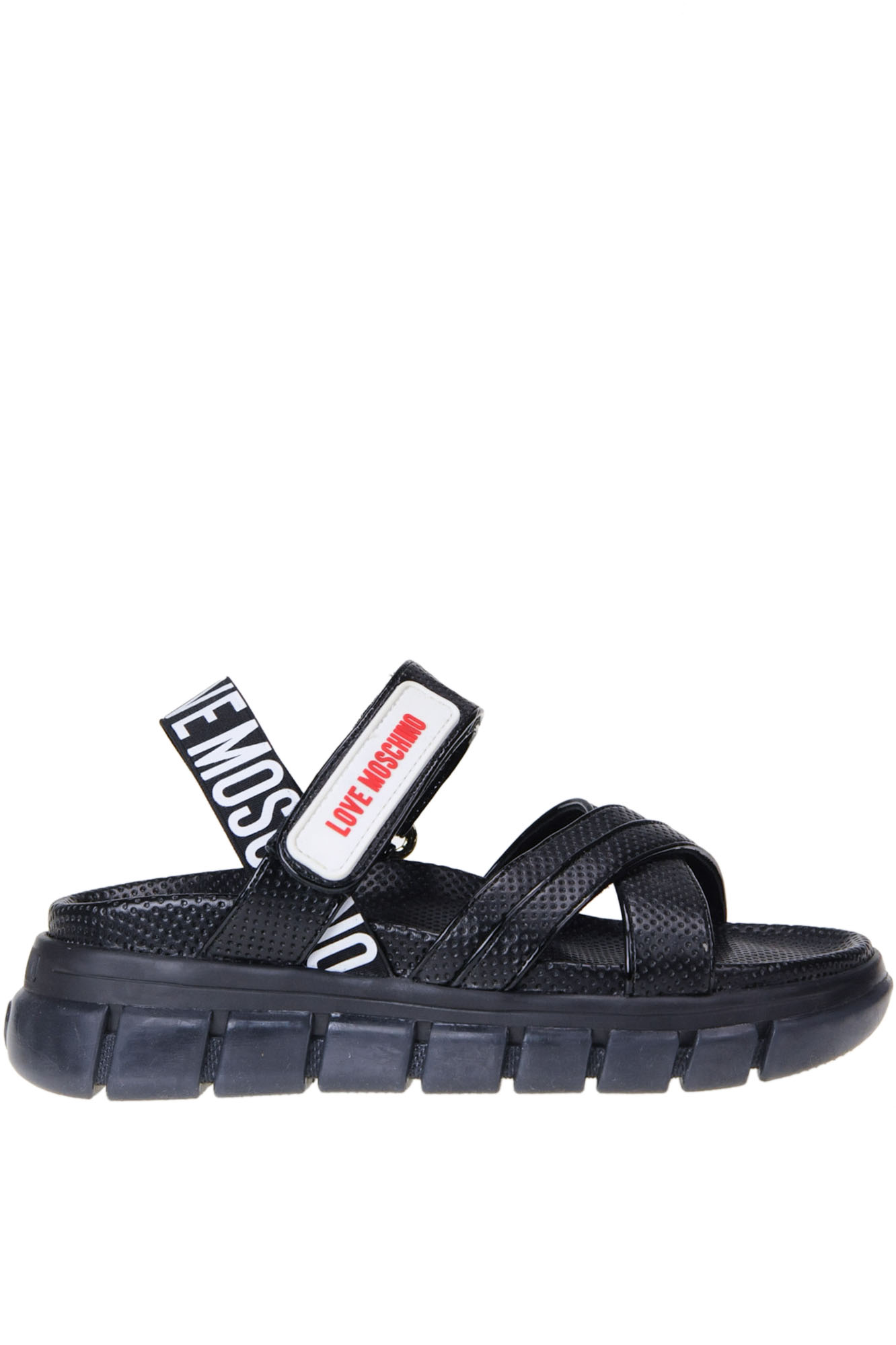 Love Moschino CUT-OUT LEATHER SPORTY SANDALS
