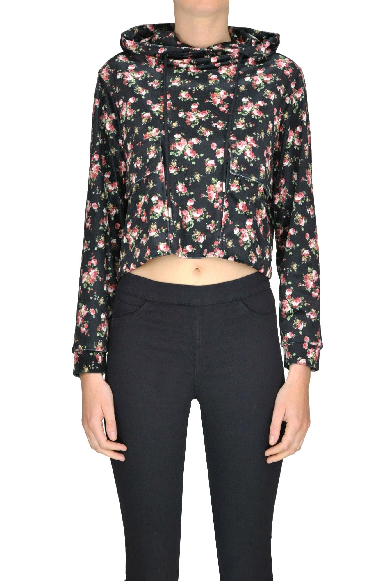 GAELLE PARIS Cropped Velvet Sweatshirt in Black