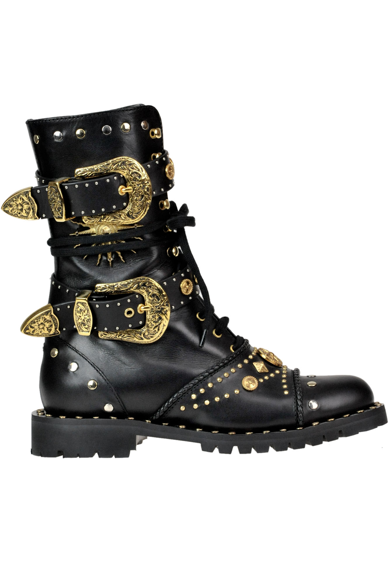 Fausto Puglisi STUDDED LEATHER COMBAT BOOTS