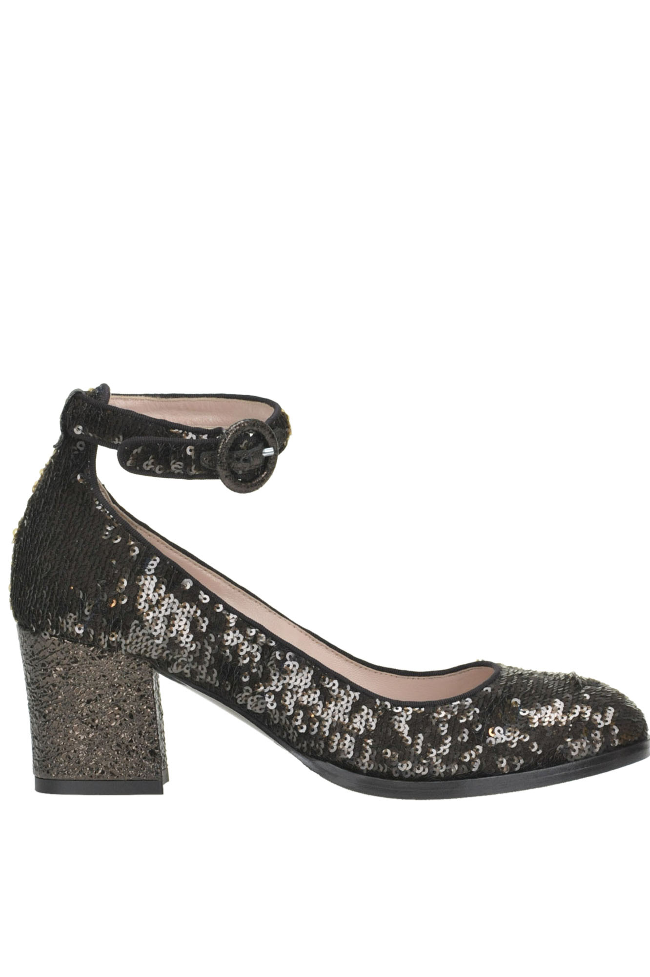 ALBERTO GOZZI Sequined Pumps in Dark Brown