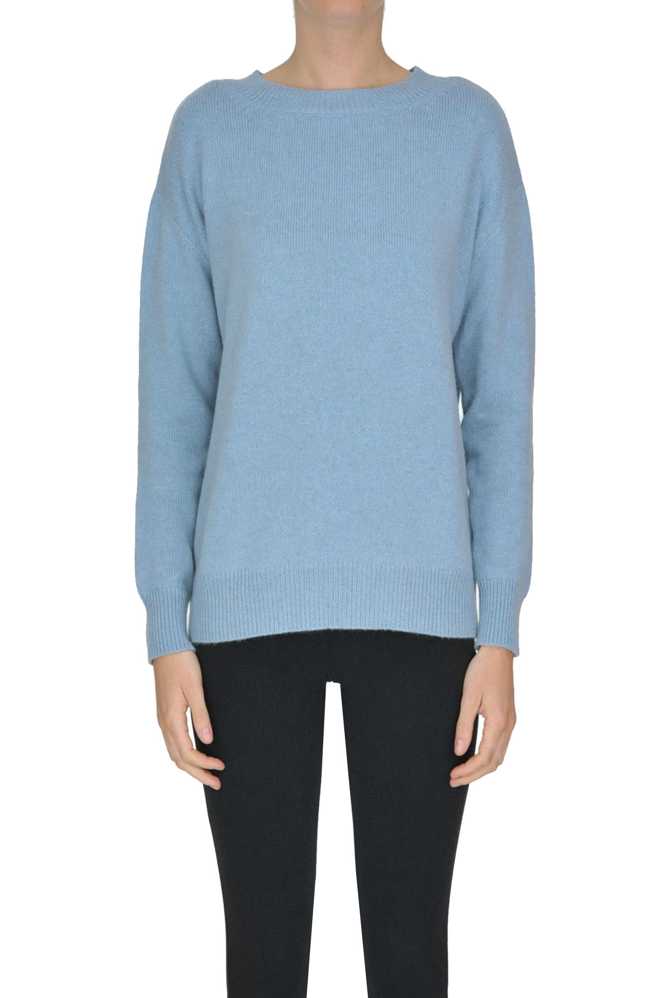ALYKI Rounded Neckline Cashmere Pullover in Light Blue