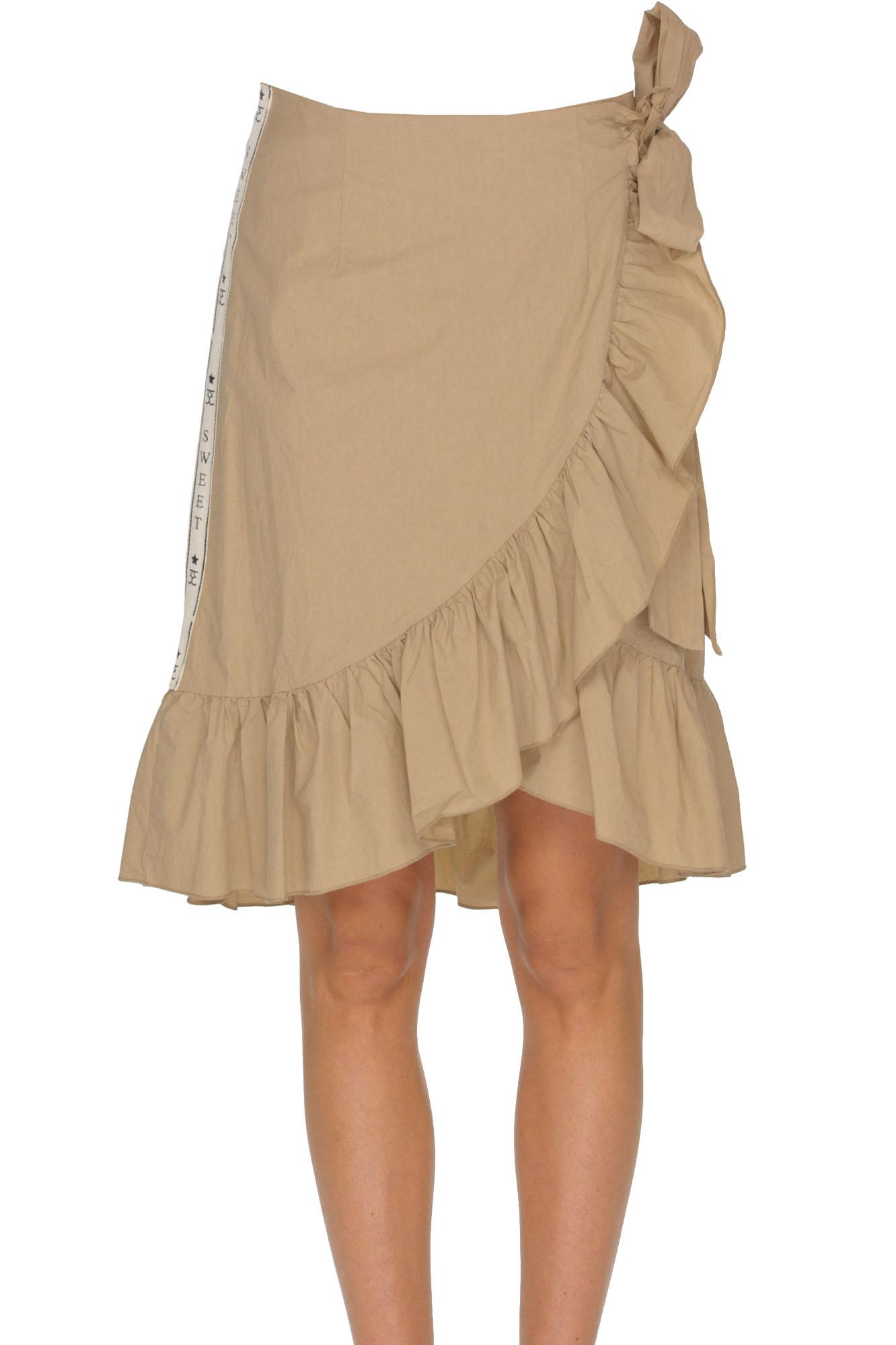 SWEET MATILDA Wraparound Cotton Skirt in Camel