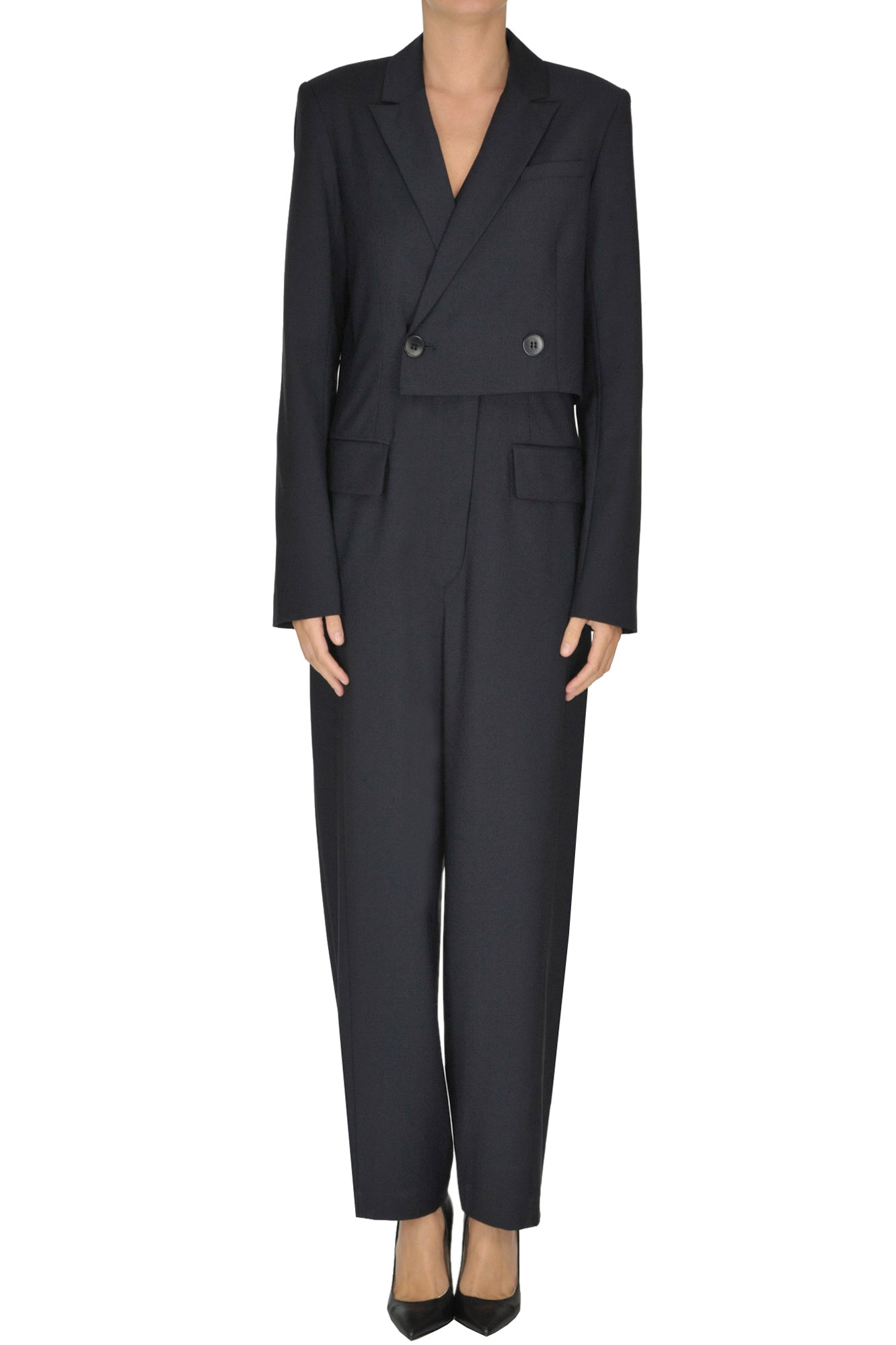 Tibi Double-Breasted Jumpsuit In Navy Blue