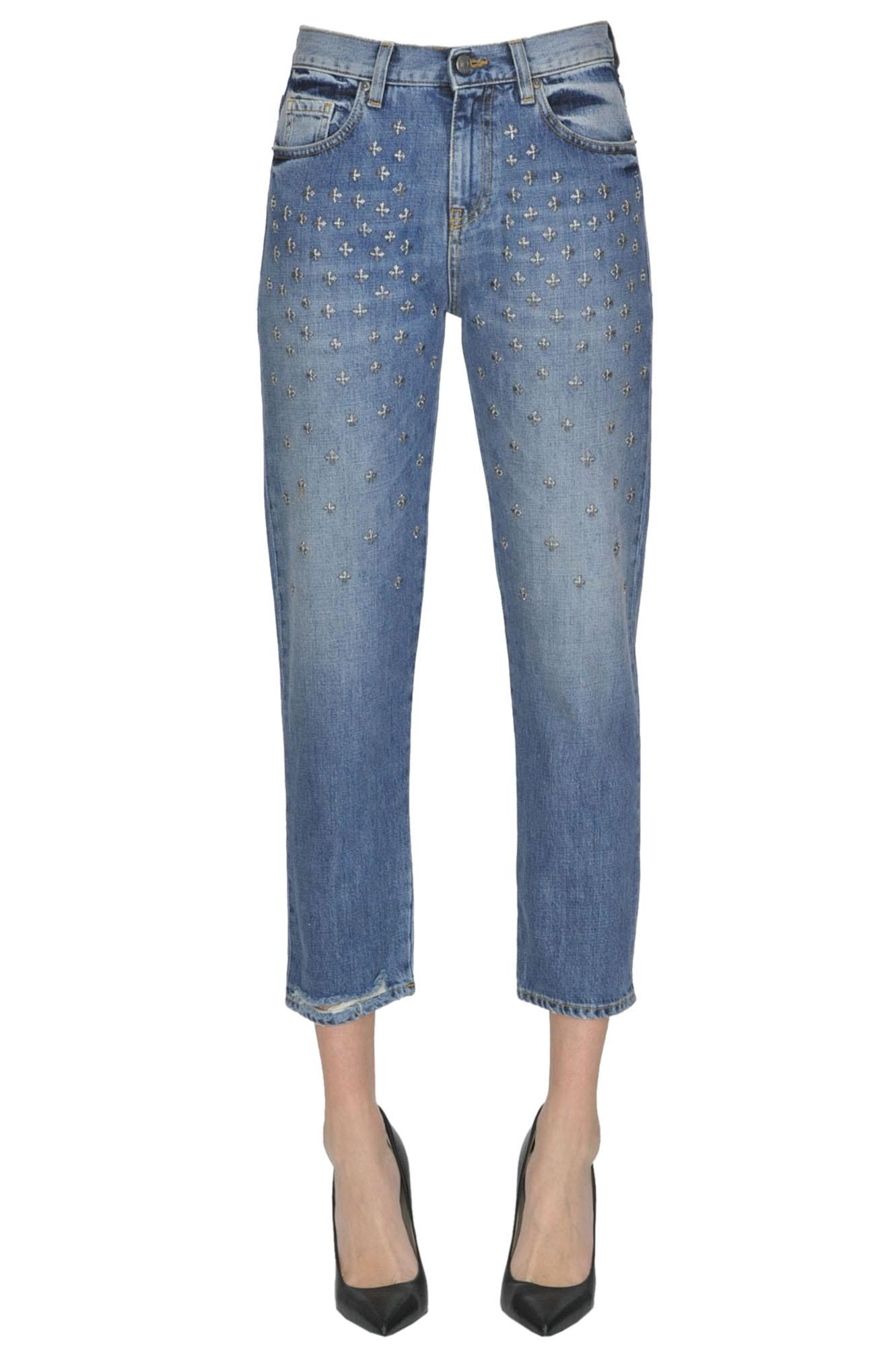 GAELLE PARIS Embellished Cropped Jeans in Light Denim