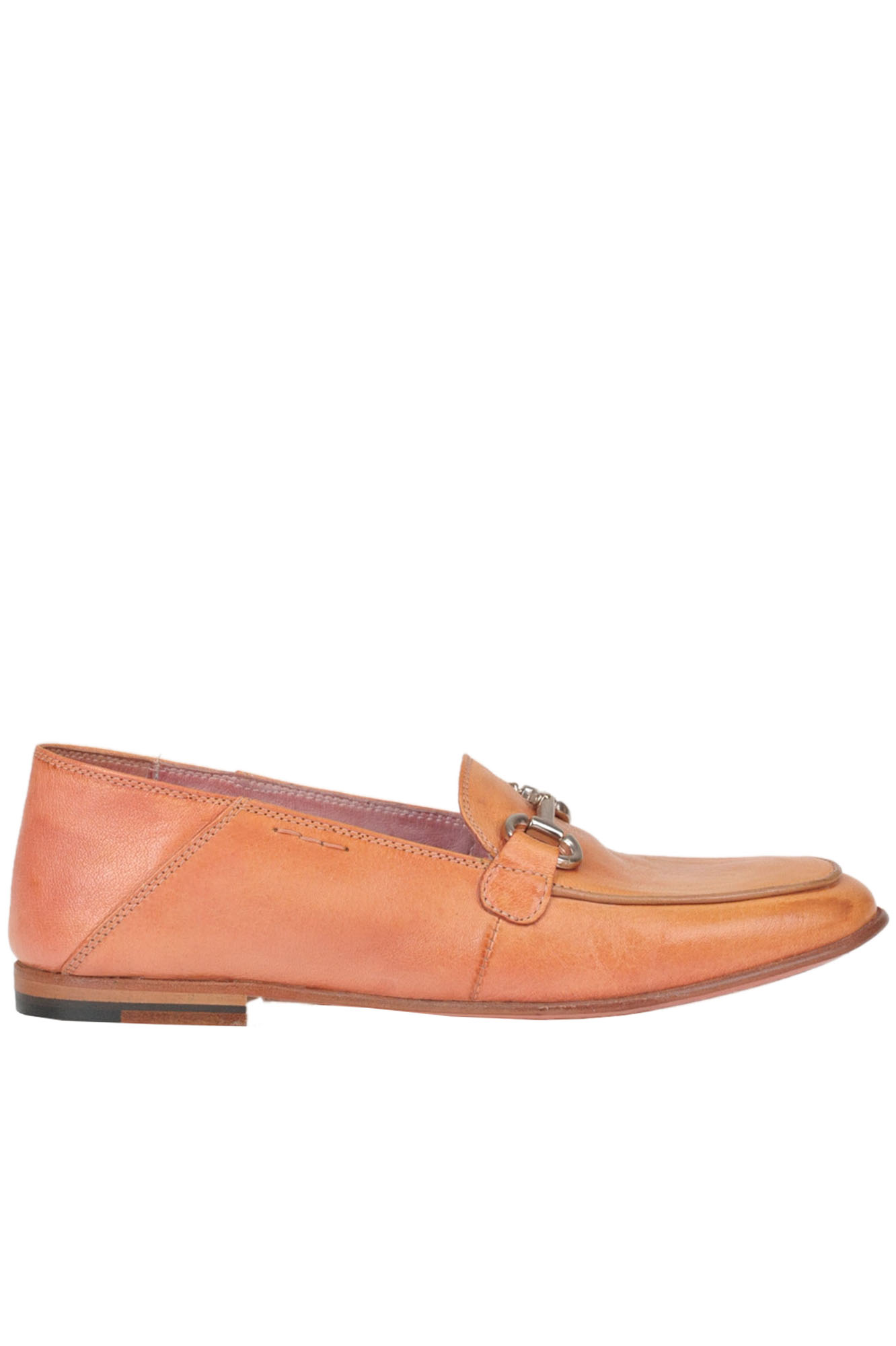 ALEXANDER HOTTO Metal Buckle Leather Mocassins in Salmon
