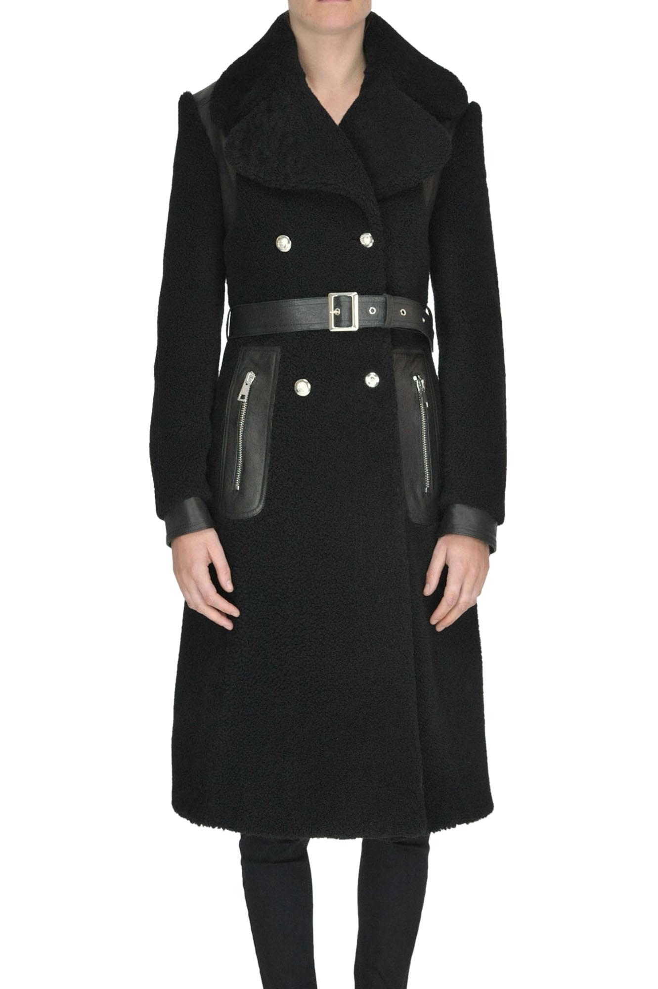 B&W Shearling Coat in Black