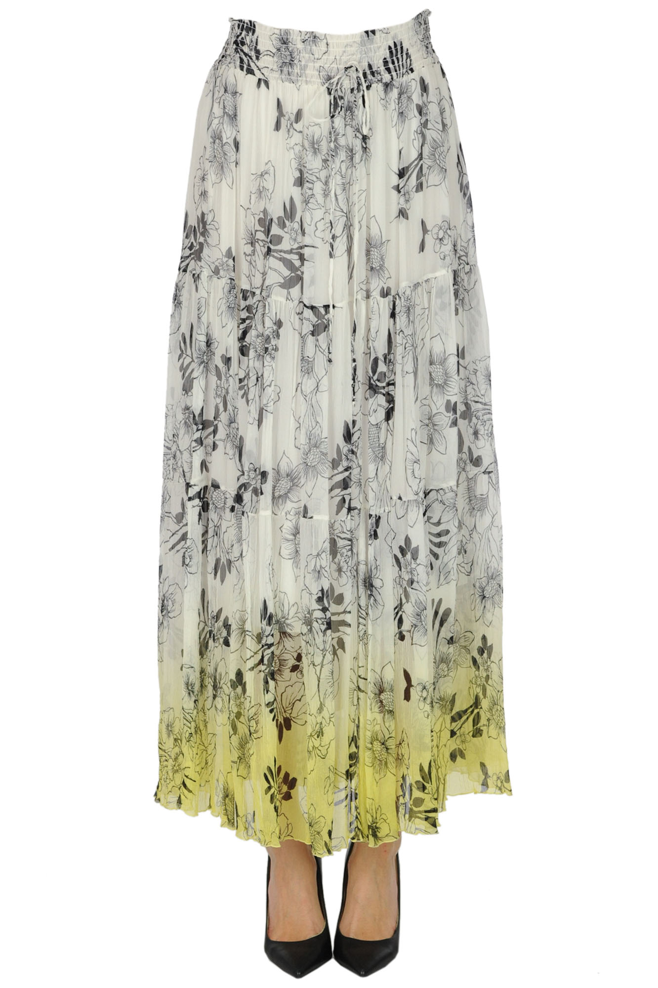 Ermanno Scervino FLOWER PRINT SILK SKIRT