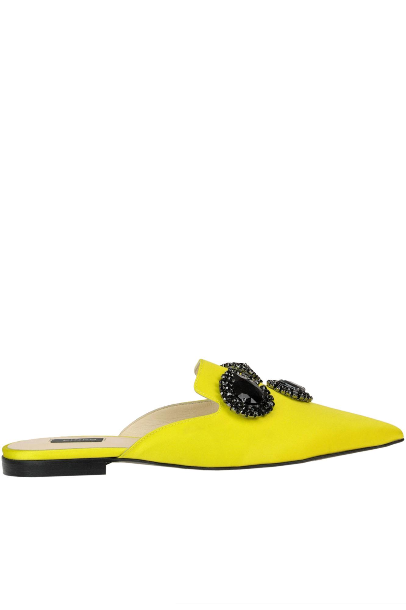 PINKO 'Arancia' Satin Mules in Yellow