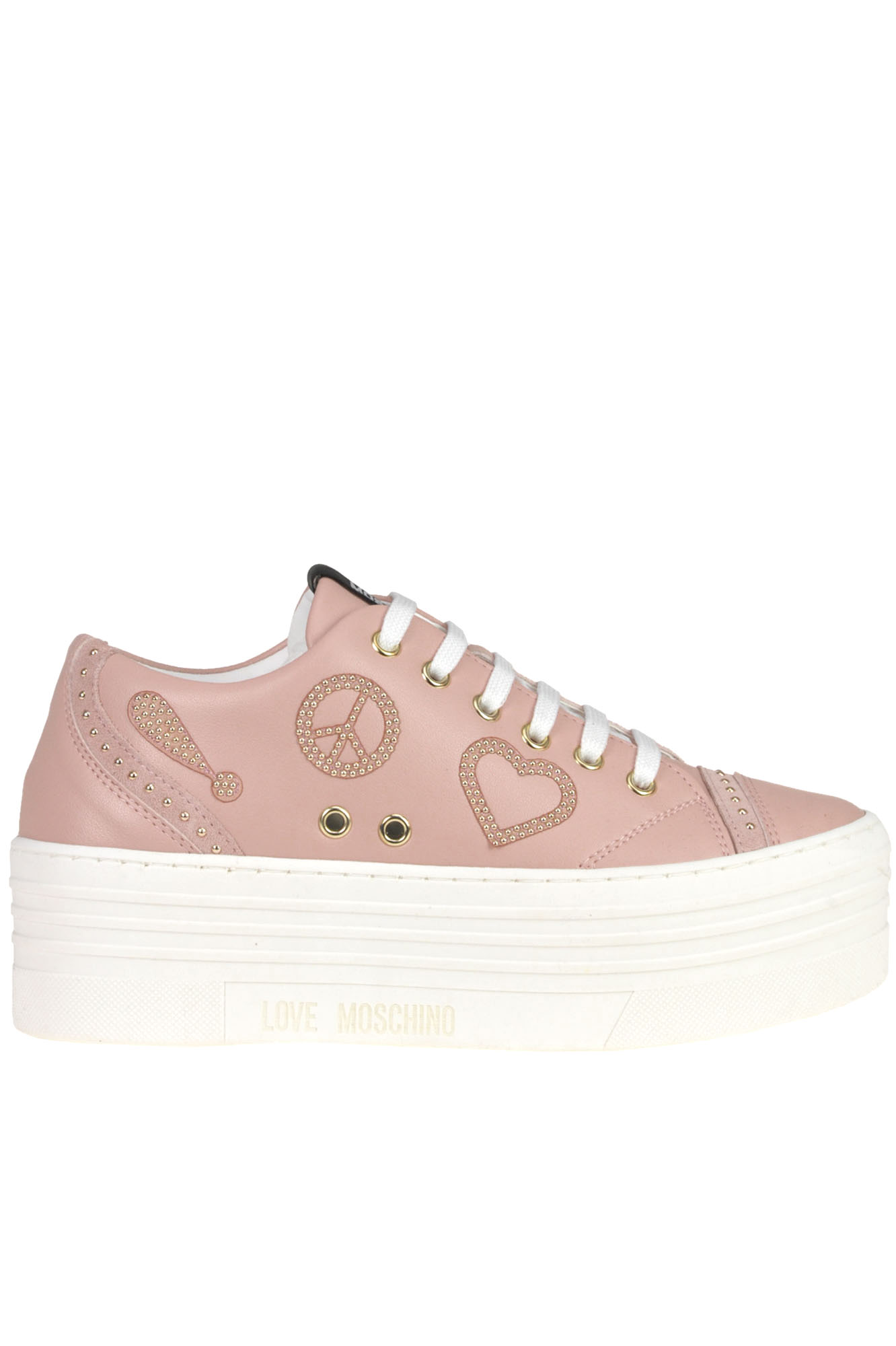 Love Moschino Leather wedge sneakers