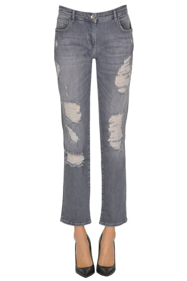 e08bf1221a8 Patrizia Pepe Jeans Destroyed cropped jeans - Buy online on Glamest ...