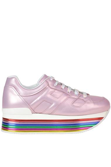 Sneakers 'Maxi 222' in pelle metallizzata con zeppa
