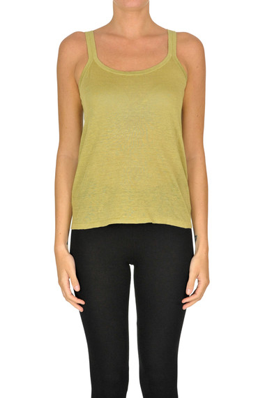Theory Linen-blend Tank-top In Green