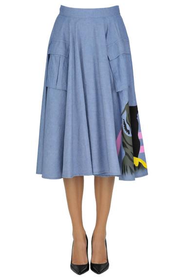 Denim style cloth midi skirt