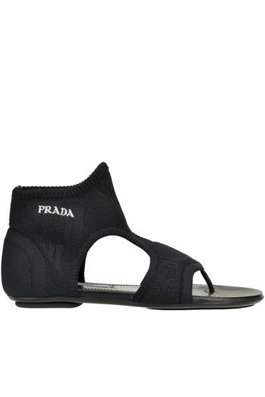 Prada Textured Knit Sandals In Black