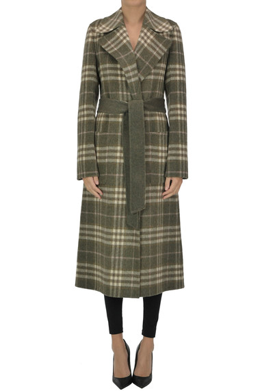 The Loom Reversible Checked Print Robe Coat In Green