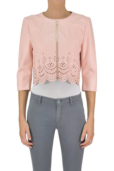 new style 33dce 08ffa Giacca cropped in ecopelle