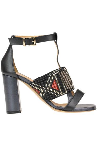 48e9f7b82 Maliparmi Embellished leather sandals - Buy online on Glamest.com ...