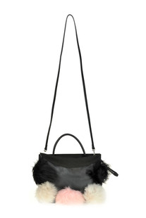 Leather bag with eco-fur pom pom Carditosale
