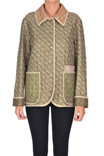 Monogram print quilted silk jacket Burberry