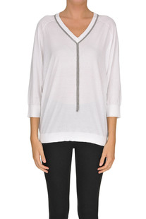 Embellished cotton pullover Brunello Cucinelli