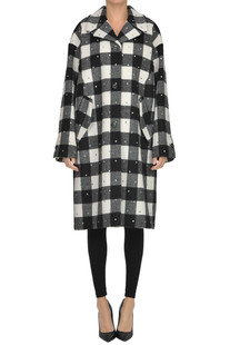 Checked print coat with strass N.21