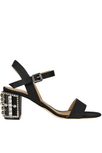 Jewel heel satin sandals Le Capresi