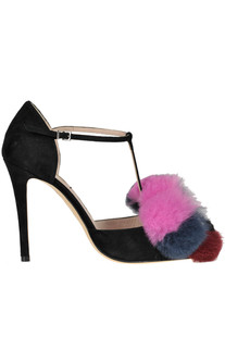 Fur inserts T-bar pumps Fendi