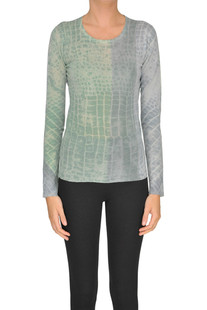 Reptile print cashmere pullover WLNS Wellness Cachemire