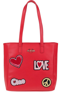 Embellished eco-leather bag Love Moschino
