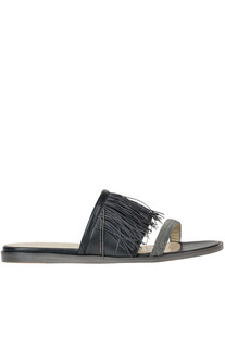 Embellished fringed leather slides Fabiana Filippi