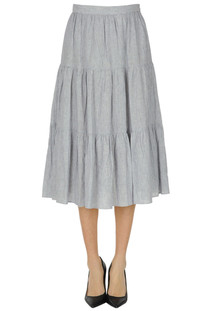 Striped linen-blend skirt Michael Michael Kors