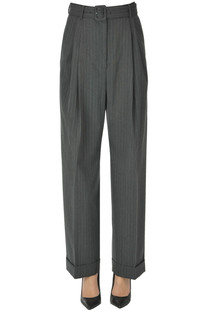 Pinstriped wool-blend trousers Dries Van Noten