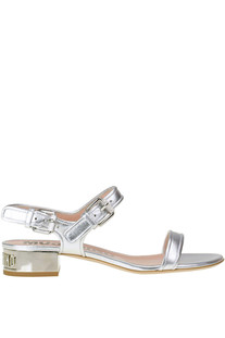 Metallic effect leather sandals Moschino Couture